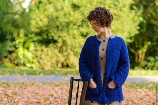 """Кофты и свитера ручной работы. Ярмарка Мастеров - ручная работа. Купить Жакет вязаный из альпаки """"Даниэла в синем"""". Handmade. синий"""