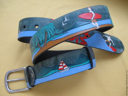 Belts handmade. Livemaster - handmade. Buy leather belt ' tropical '.Hawaii, a gift for any occasion