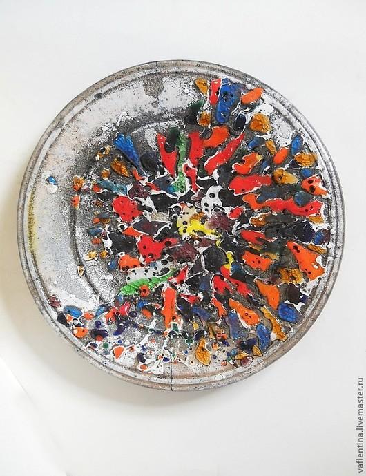 """Декоративная посуда ручной работы. Ярмарка Мастеров - ручная работа. Купить керамическое блюдо """"Space Boom"""". Handmade. Керамика, радуга"""