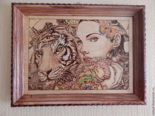 """Фэнтези ручной работы. Ярмарка Мастеров - ручная работа. Купить Картина """"Сердце тигра"""". Handmade. Коричневый, картина, подарок женщине"""