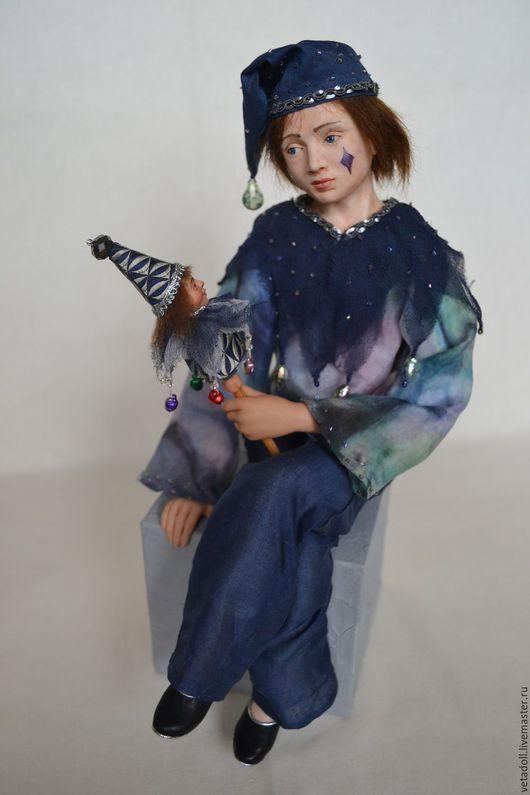 Коллекционные куклы ручной работы. Ярмарка Мастеров - ручная работа. Купить Клоун Мишель. Handmade. Тёмно-синий, подарок