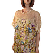 Одежда handmade. Livemaster - original item Large size tunic made of knitwear with lace. Handmade.