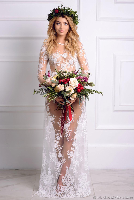 Будуарное платье из цельного кружева, Платья, Москва,  Фото №1