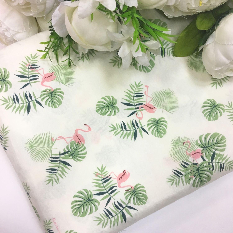 Ткань хлопок фламинго с зелеными листьями, Ткани, Москва,  Фото №1