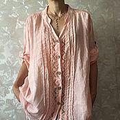 Одежда ручной работы. Ярмарка Мастеров - ручная работа Льняная блуза с кружевом. Handmade.