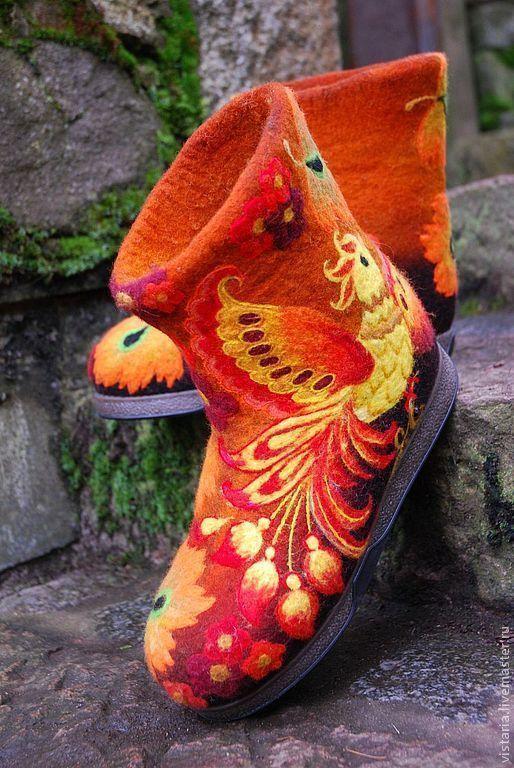 Обувь ручной работы. Ярмарка Мастеров - ручная работа. Купить Валенки  « Жар-птица » хохлома. Handmade. Валенки