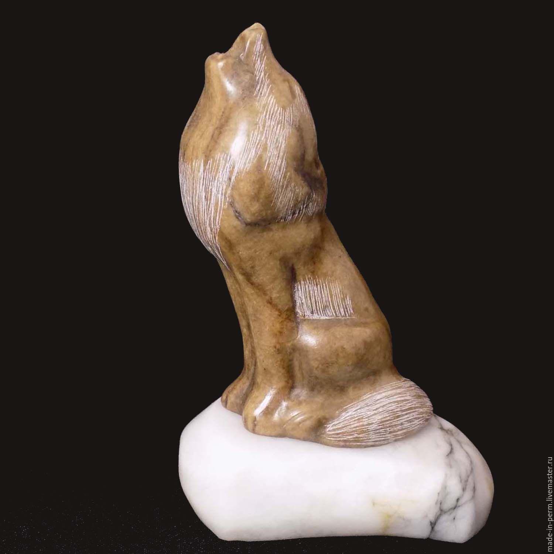 Воющий Волк - статуэтка из камня Кальцит, Статуэтки, Орда,  Фото №1
