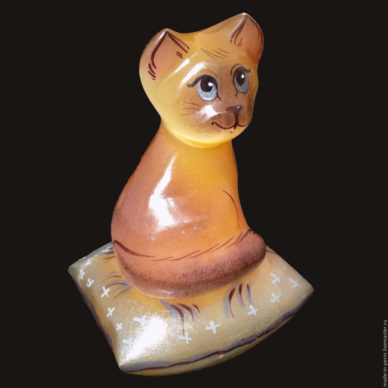 Кот сидящий на подушке - фигурка из камня Селенит, Статуэтки, Орда,  Фото №1