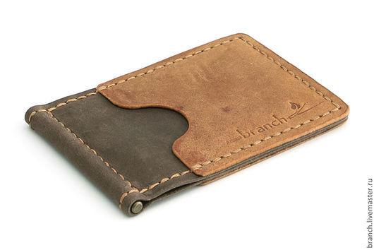 Кошельки и визитницы ручной работы. Ярмарка Мастеров - ручная работа. Купить Зажим для купюр S brown&ginger из натуральной кожи. Handmade.