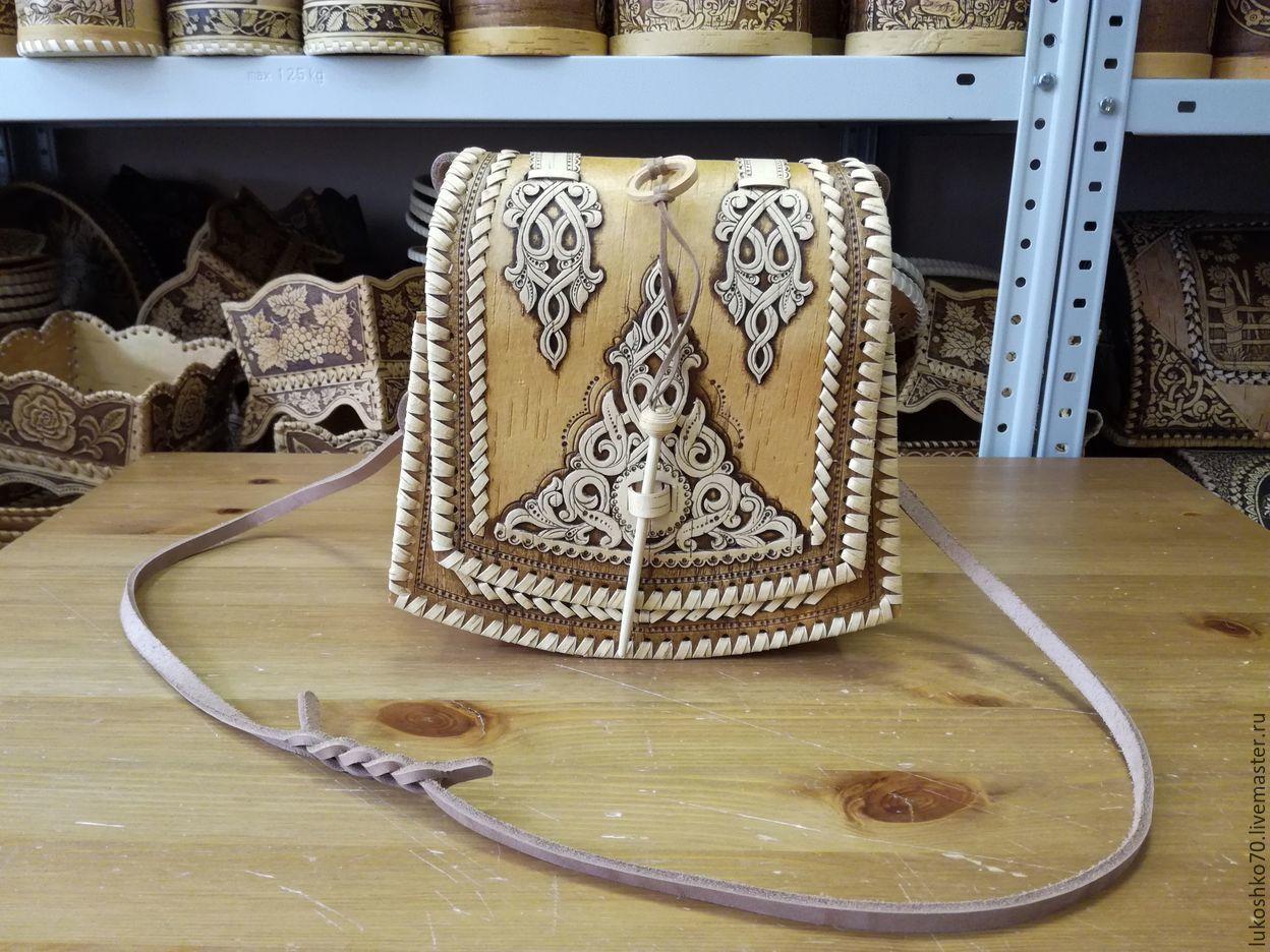 Handbag made of birch bark. Birch bark bag. bag handmade, Classic Bag, Tomsk,  Фото №1