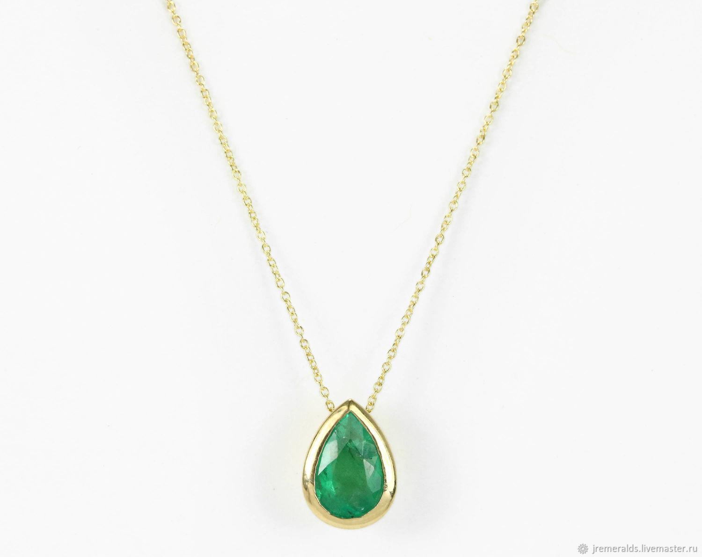 7232e4dc2a9079 Pendants handmade. Livemaster - handmade. Buy 1.20cts Gold Emerald Pear  Necklace 14K