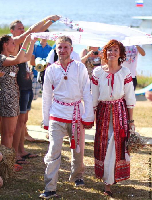 Рубашка мужская в славянском стиле и рубашка-платье `Купавна` для прекрасной пары.