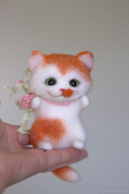 Рыжий котенок  валяная игрушка, Войлочная игрушка, Правдинск,  Фото №1