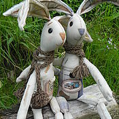 """Куклы и игрушки ручной работы. Ярмарка Мастеров - ручная работа Зайцы-Кролики  """"Чердачные акварельки"""". Handmade."""