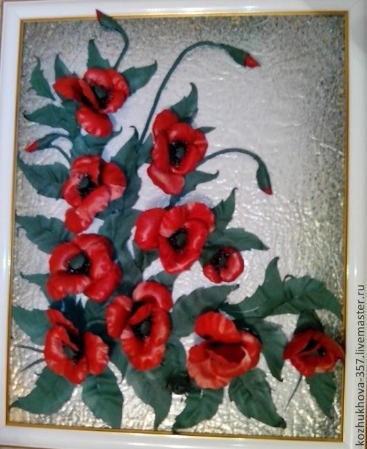 """Картины цветов ручной работы. Ярмарка Мастеров - ручная работа. Купить """"Маки"""" авторская картина из  кожи. Handmade. Новый Год"""
