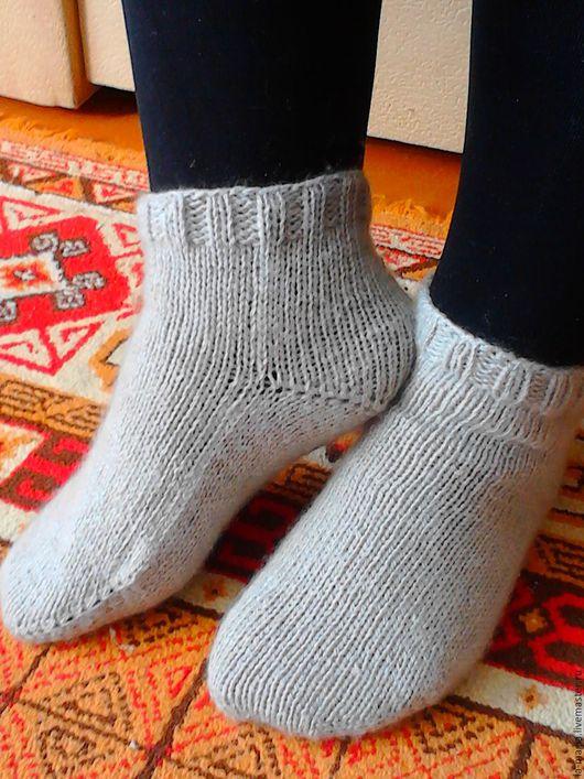 Большие размеры ручной работы. Ярмарка Мастеров - ручная работа. Купить Носки на двух спицах. Handmade. Серый, носки