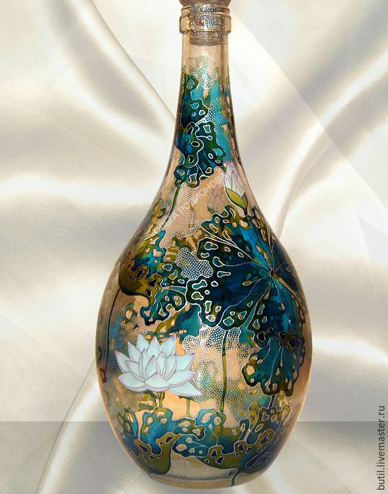 Copy of bottle lotus stained glass painting shop online Painting old glass bottles