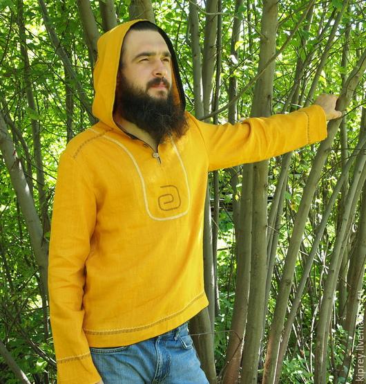 """Для мужчин, ручной работы. Ярмарка Мастеров - ручная работа. Купить Рубаха мужская """"Куркума"""" льняная с капюшоном. Handmade. Желтый"""