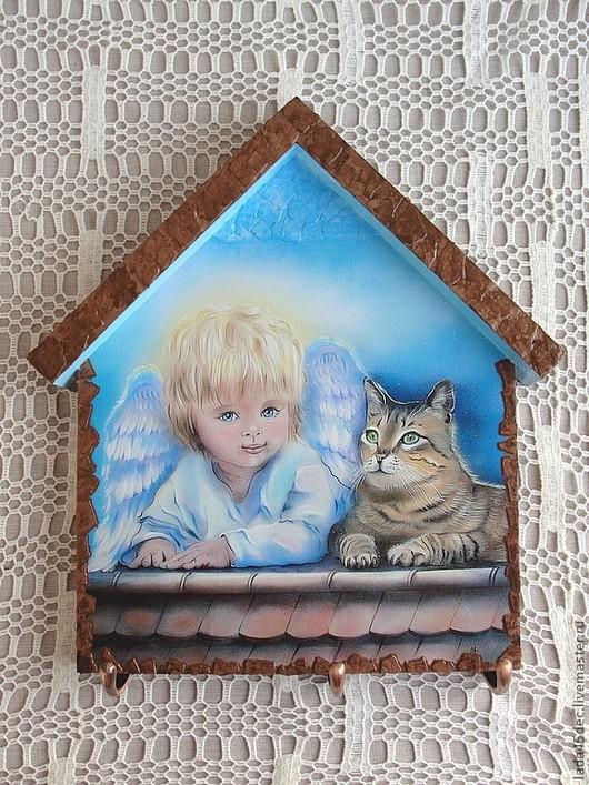 """Прихожая ручной работы. Ярмарка Мастеров - ручная работа. Купить Ключница  """"Крылатый друг"""". Handmade. Голубой, ангел"""