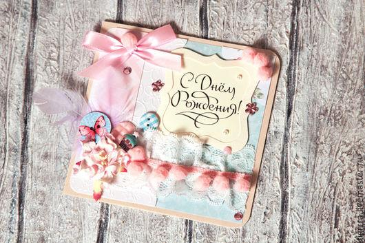 """Открытки на день рождения ручной работы. Ярмарка Мастеров - ручная работа. Купить Открытка """"С днем рождения!"""" (открытка ручной работы). Handmade."""