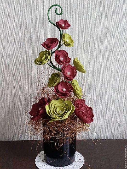 """Интерьерные композиции ручной работы. Ярмарка Мастеров - ручная работа. Купить """"Симфония"""". Handmade. Комбинированный, интерьерная композиция, цветы из фоамирана"""