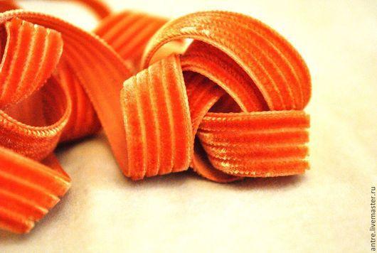 """Шитье ручной работы. Ярмарка Мастеров - ручная работа. Купить Лента плюшевая """"вельветовая"""" Рыжая (Франция). Handmade. Рыжий, лента"""