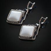 Украшения handmade. Livemaster - original item white. White agate. Earrings in the Japanese style with white agate. Handmade.