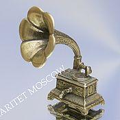 Винтаж ручной работы. Ярмарка Мастеров - ручная работа Граммофон патефон труба фигурка серебро 800 34. Handmade.