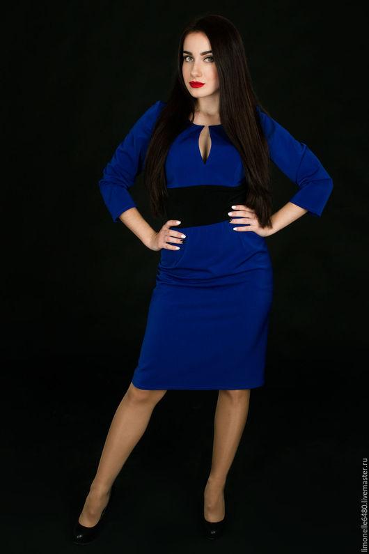 Платья ручной работы. Ярмарка Мастеров - ручная работа. Купить Платье из костюмной ткани. Handmade. Синий, коктельное платье
