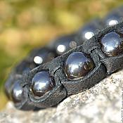 Украшения handmade. Livemaster - original item Shamballa bracelet leather hematite stone. Handmade.