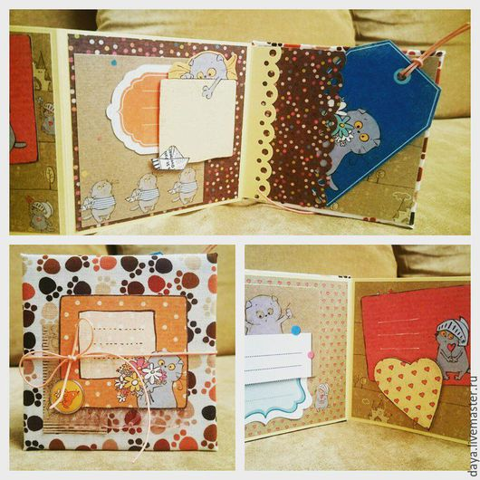 """Детские открытки ручной работы. Ярмарка Мастеров - ручная работа. Купить Мини-альбом """"Басик"""". Handmade. Разноцветный, альбом для девочки"""