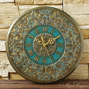 """Для дома и интерьера ручной работы. Ярмарка Мастеров - ручная работа """"Старинные часы"""" настенные круглые, бирюзовый, бронзовый. Handmade."""