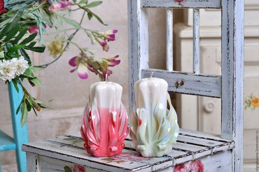Персональные подарки ручной работы. Ярмарка Мастеров - ручная работа. Купить 2 Резные свечи Лебеди. Handmade. Резные свечи