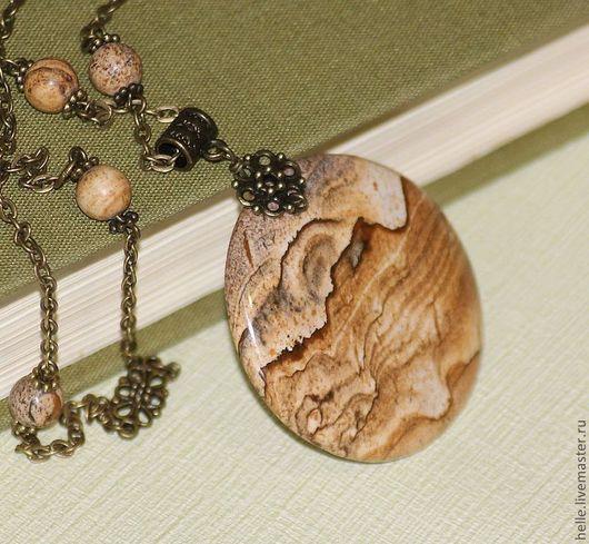 Кулоны, подвески ручной работы. Ярмарка Мастеров - ручная работа. Купить Колье с подвеской из пейзажной яшмы Раскаленные пески. Handmade.