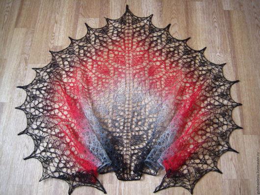 Шаль Grey Red Олеся Губина Шали ручной работы