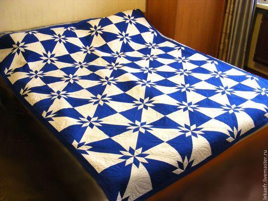"""Текстиль, ковры ручной работы. Ярмарка Мастеров - ручная работа. Купить Лоскутный плед """"Blue & White"""". Handmade. Синий"""