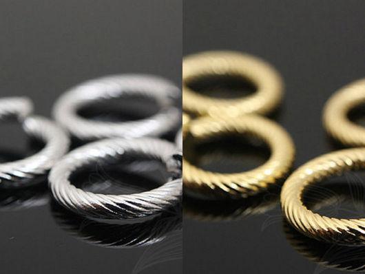 Декоративные витые разъемные кольца из латуни с глянцевой позолотой или родиевым покрытием, 12 мм. Фурнитура для серег и украшений из Южной Кореи.