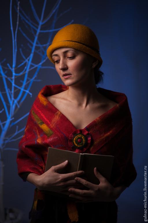 """Шали, палантины ручной работы. Ярмарка Мастеров - ручная работа. Купить комплект шляпка и палантин """"Яркая осень"""". Handmade. Оранжевый"""