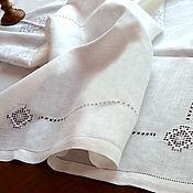 Для дома и интерьера ручной работы. Ярмарка Мастеров - ручная работа Скатерть белая льняная с вышивкой  140х250см. снежинка. Handmade.