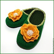 """Обувь ручной работы. Ярмарка Мастеров - ручная работа Тапочки """" Желтые розы"""". Handmade."""