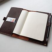 Блокноты ручной работы. Ярмарка Мастеров - ручная работа Кожаная обложка для блокнота А6. Коричневый. Handmade.