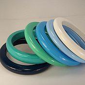 Украшения handmade. Livemaster - original item Bracelets fine jewelry set made of wood sky-blue. Handmade.