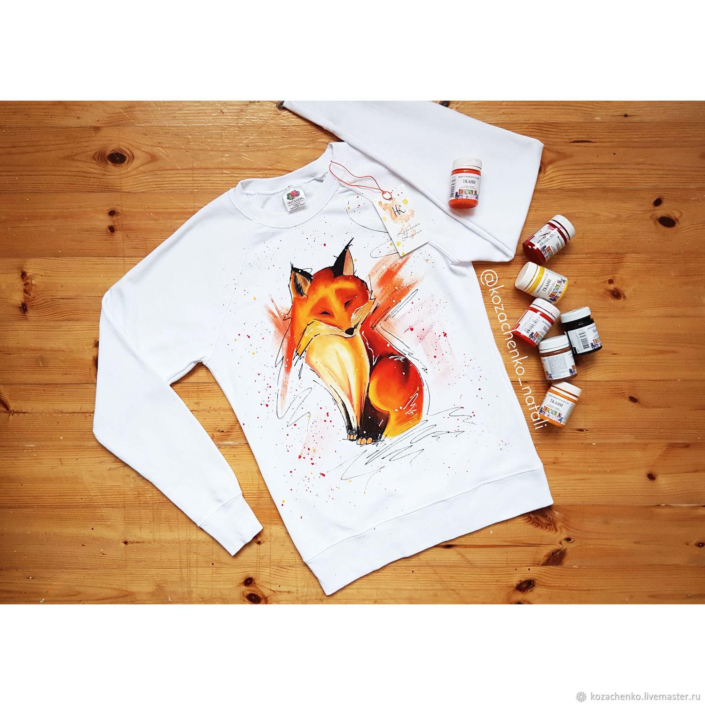 Sweatshirt with hand-painted Chanterelle, Jumpers, Kaliningrad,  Фото №1