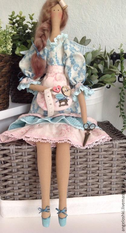 Куклы Тильды ручной работы. Ярмарка Мастеров - ручная работа. Купить Ангел рукоделия. Handmade. Бирюзовый, тильда, бусины