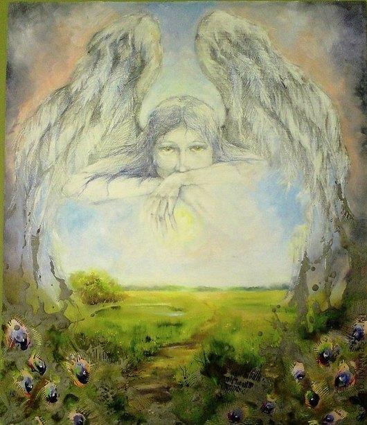 """Символизм ручной работы. Ярмарка Мастеров - ручная работа. Купить Картина """"Запечатленный ангел"""". Handmade. Пейзаж, подарок для женщины"""
