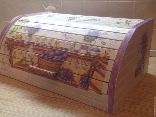 """Кухня ручной работы. Ярмарка Мастеров - ручная работа. Купить Хлебница """"Лавандовые поля"""". Handmade. Белый, хлебница, хлебница из дерева"""
