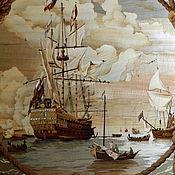 "Картины и панно ручной работы. Ярмарка Мастеров - ручная работа Маркетри-версия картины  ""HMS `Royal Sovereign` with a Royal yacht in. Handmade."