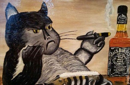 """Животные ручной работы. Ярмарка Мастеров - ручная работа. Купить Картина маслом """"Кот с бутылкой"""". Handmade. Комбинированный, коты"""