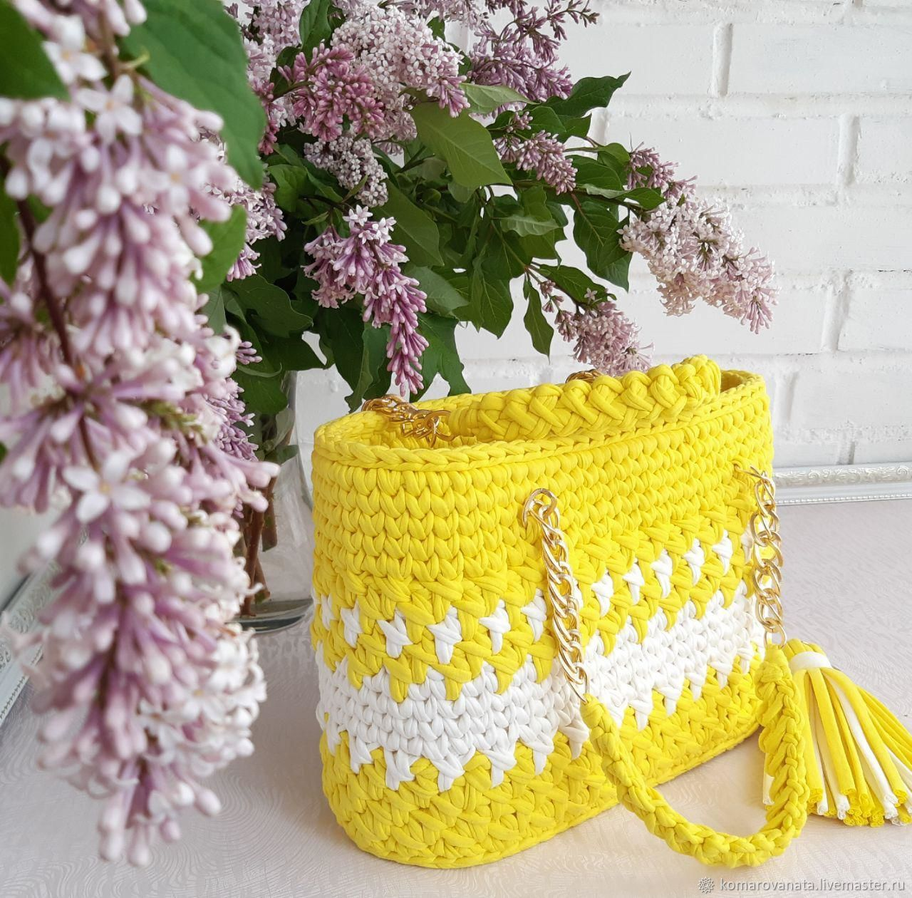 Yellow knitted shopping bag. The best present for your beloved, Classic Bag, Lesnoj,  Фото №1