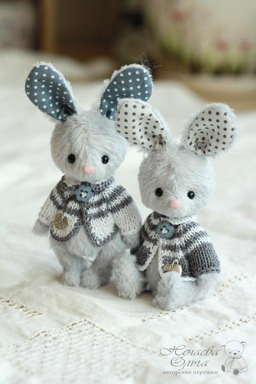 Мишки Тедди ручной работы. Ярмарка Мастеров - ручная работа. Купить Тася и Ася (11 см). Handmade. Голубой, зайчонок